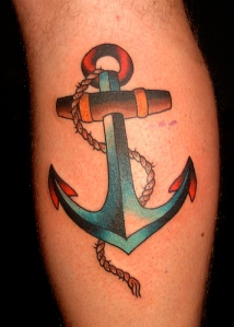 Old School Anchor & Rope Tattoo Design photo picture idea