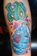 New School Grenade arm Tattoo Design photo picture idea